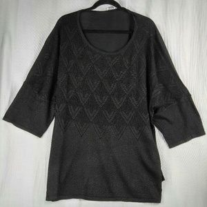 Avenue Women's Sweater Black 3/4 Sleeve Top 18/20